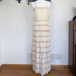 Vintage 70's Custom Off White Floral Maxi Dress